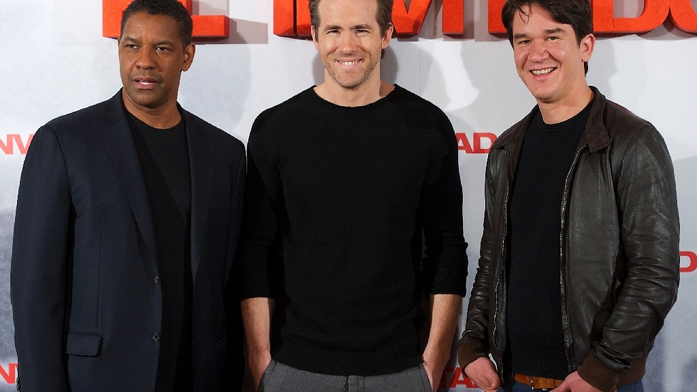"Ryan med ""Safe House""-kollegorna Denzel Washington och Daniel Espinosa."