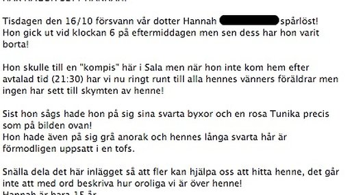 Facebook, Efterlysning, Försvunnen,  Hannah, Missing People