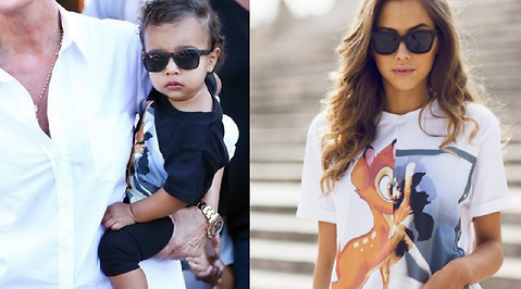 Kim Kardashian, Mode, North West, Outfit, Kanye West