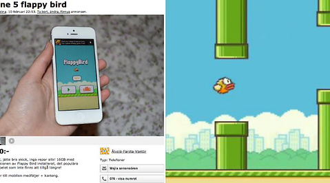 Flappy Bird, Blocket, Tradera