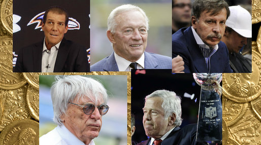 Jerry Jones, New England Patriots, Colorado Avalanche,  St. Louis Rams, Denver Nuggets,  Robert Kraft,  Bernard Ecclestone, Stanley Kroenke, Dallas Cowboys,  Colorado Mammoth,  Stephen Bisciotti,  Colorado Rapids,  Baltimore Ravens, Arsenal,  New England Revolutions