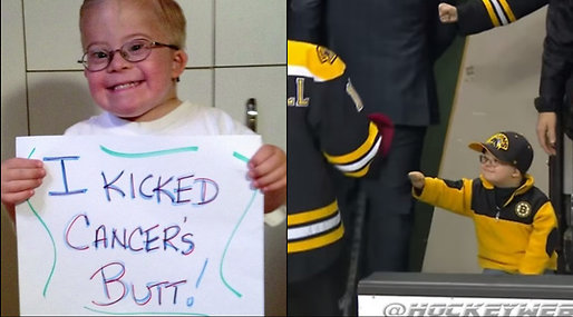 Downs syndrom, Cancer, Fist Bump, Liam Fitzgerald, nhl, Boston Bruins, Hockey