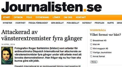 Expressen, Miljopartiet,  Dispatch International,  Guldtuben, Journalisten, Chemtrails