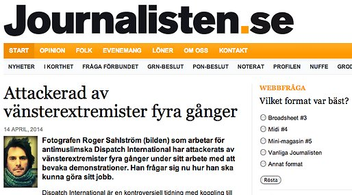 Miljopartiet, Expressen,  Dispatch International, Journalisten, Chemtrails,  Guldtuben