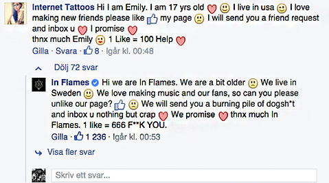 likes, In Flames, Facebook