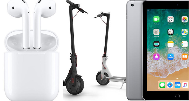 AirPods, el-scooter, Apple iPad